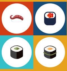 Flat icon salmon set of eating sashimi sushi and vector
