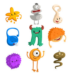 flat set of funny little monsters cartoon vector image