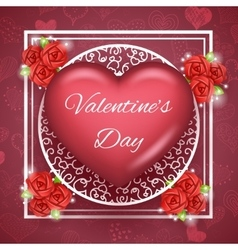 Flower Heart Text Valentine Day Greating Card vector
