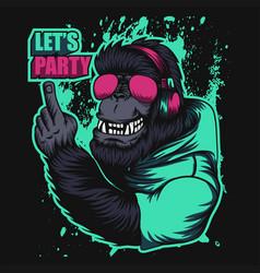 gorilla headphone party vector image