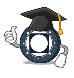 Graduation byteball bytes coin character cartoon vector