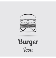 Greyscale Icon of Burger vector image