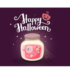 halloween of decorative jar with tooth eye vector image