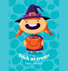 halloween poster trick or treat with witch vector image