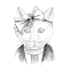 hand drawn portrait funny cat with accessories vector image