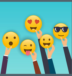 Hand holding reaction smileys social media vector