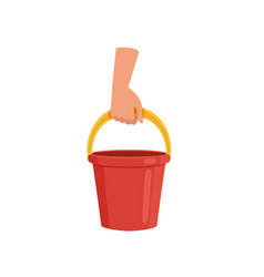 hand holding red bucket human hand with tool for vector image