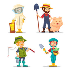 happy fisherman beekeeper farmer in straw hat vector image