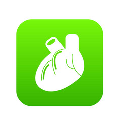 heart organ icon green vector image