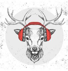 Hipster animal deer with headphones vector