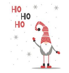 ho-ho-ho christmas greeting card cute swedish vector image
