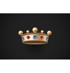 Icon of gold royal crown with red and blue diamond vector