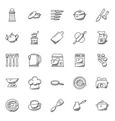 Kitchen utensils doodle icons set vector