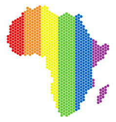 Lgbt spectrum pixel africa map vector