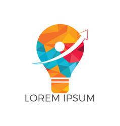 Light bulb with arrow logo design vector