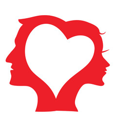 man and woman head silhouette in love heart vector image