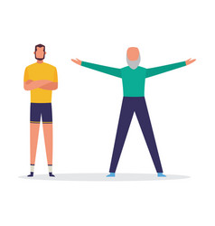 Man character training with personal coach flat vector