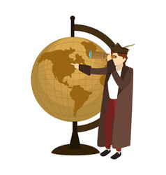 Man christopher with monocular and global map desk vector