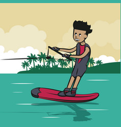 Man doing waterski vector