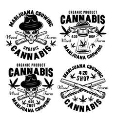 Marijuana growing set four black emblems vector