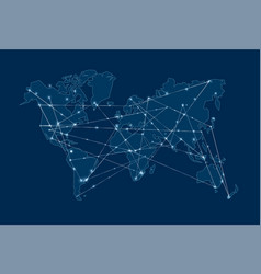Modern blue digital world map concept vector