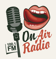 Music radio banner with microphone and girls mouth vector