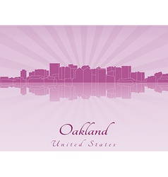 Oakland skyline in radiant orchid vector