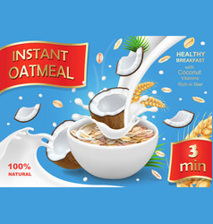 Oatmeal muesli with coconut and milk splash vector