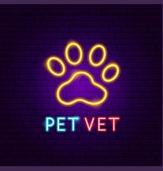 Pet vet neon label vector
