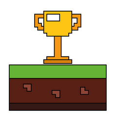pixelated trophy cup award game vector image