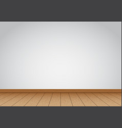 Realistic gray wall blank with brown wood floor vector