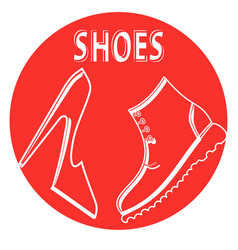 round sign shop mens and womens shoes vector image