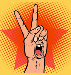 Scream delight mouth emotion hand victory gesture vector