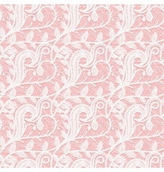 Seamless white lace fabric on a pink background vector image