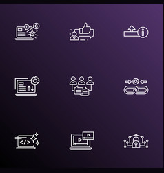 search icons line style set with upload audience vector image