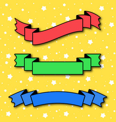 Set of colored flat insulated ribbon banner on a vector