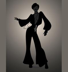 Silhouette girl dancing soul funky or disco vector