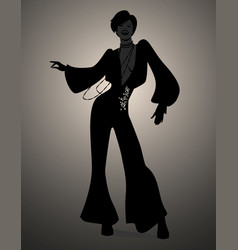 Silhouette of girl dancing soul funky or disco vector