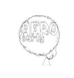Single line sketch curly afro hair woman vector