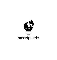 Smart puzzle logo design concept vector