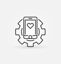 smartphone in gear concept icon in thin vector image