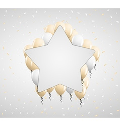 Star badge and beige balloons vector