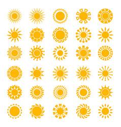 Sun icons sunrise creativity sunny circle shapes vector