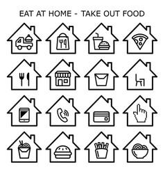take out food take away icons set - order vector image