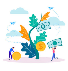The concept of income growth young people collect vector