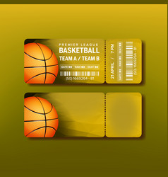 ticket on premier league of basketball game vector image