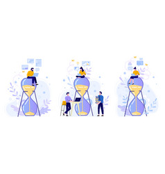 time management hourglass people work with laptop vector image
