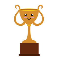 Trophy cup comic character isolated icon vector