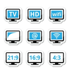 TV monitor screen icons set vector image