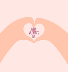 two hands make heart on valentine day vector image